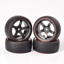 4 X For RC On-Road 1/10  Car HPI Daul Color Drift Tires&Wheel Rim PP0366R/D5M
