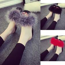 New Women's Fur Fluffy Marabou Mules Slip On Sandals Feather Sliders Slippers B