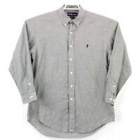 Ralph Lauren Men's Size 16 LS Black White Button Up Yarmouth Houndstooth Shirt