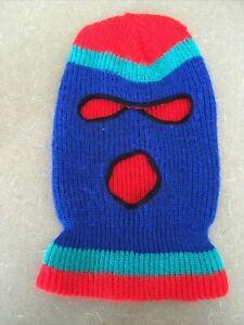 Vintage 70s 80s Knit Ski Mask Robber Mask red blue Green/Teal 3 Hole
