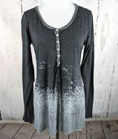Women's GILDED INTENT Long Sleeve Henley Tunic Bleached Knit Gray Small S BKE