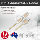 2 in 1 Lightning Charger Data Sync Cable Micro USB for Android iPhone 6 6s 7 7+
