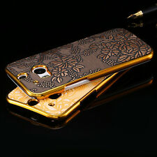Gold luxury plating frame embossing cloth flower phone case for htc one m8 cover