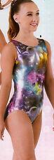 NWT Axis Gymnastic Dance Leotard Foil Galaxy Print Ladies Petite 97230
