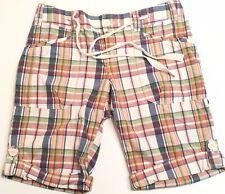 Eddie Bauer Plaid Walking Shorts Women's Size 6 100% Cotton Button Flaps Long
