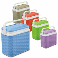 10 Litre Rattan Design Small Cooler Box Camping Beach Picnic Travel 1 Ice Pack