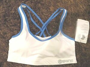 Brand New, with tag, XS Skins A200 Speed Compression Crop Sports Bra Gloss White