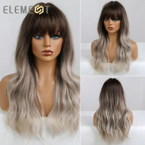 Daily Party Wigs with Bangs for Women Ash Blonde Ombre Natural Wavy Synthetic