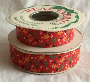 "Vintage KD Richards Indoor Outdoor Real Fabric Ribbon Weatherproof 3/4"" 36+ Feet"