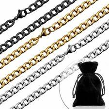 1 Collar Cadena Pulsera Hombre Mujer Acero Inox Plana Figaro + Caja de Regalo