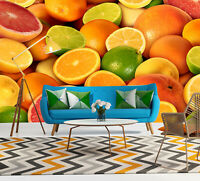 3D Lemon Orange Fruit Self-adhesive Living Room Wallpaper Sofa Background Mural