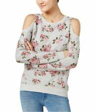 T-shirt, maglie e camicie da donna a manica lunga grigi floreale
