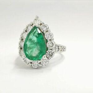 3.15 CT 14K White Gold Green Natural Beryl Diamond Emerald Ring Round Cut