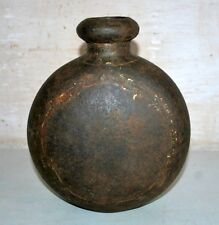 Old Antique India Iron Hand Forged Tribal Oil Pot Primitive Folk Art 19th C