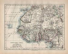 1902 ~ norte-oeste de África mapa que muestra posesiones europeas Guinea Sahara Sudán