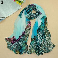 High Long Women Ladies Leopard Print Chiffon Scarves Silk Shawl Stole Peachy