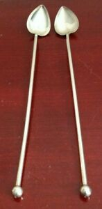 VINTAGE PAIR(2) OF SHEFFIELD STERLING SILVER HEART SPOONS/STRAWS. 8""