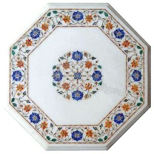 15 Inch Marble Table Top Marquetry Art Luxurious Look Coffee Table for for Home