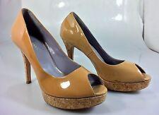 "Cole Haan 10.5B Womens Nude Beige Patent Leather Peep Toe 5"" Cork Heels Shoes"