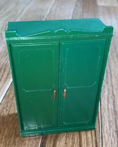 Sylvanian Family Vintage Green Wardrobe Dresser Cabinet Drawer Calico Critter