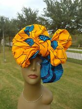 Orange teal Head wrap;Orange African Headwrap; African Clothing; African Fabric