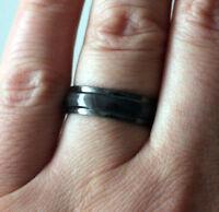 Neu Modeschmuck Ring 6mm Cateye Effekt Farbe Anthrazit Edelstahl 17 - 21.5 #121