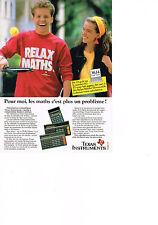 PUBLICITE   1987   TEXAS  INSTRUMENTS  calculatrices