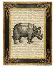 Rhinoceros Art Print on Vintage Book Page Home Office Decor Gifts Rhino Horn