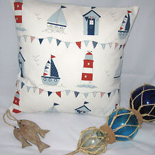 "Beach Hut Nautical Cushion Cover  Boats Lighthouse Seaside 16"" x 16"" Pillow"