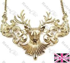 LARGE ORNATE STAG HEAD NECKLACE retro vintage style DEER ANTLER antique gold pl