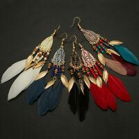 Fashion Bohemian Earrings Long Tassel Fringe Boho Feather Dangle Hook Jewelry
