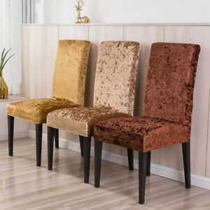 Soft Velvet Chair Covers Wedding Party Home Dining Elastic Stretch Seat Cover