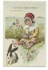 Easter Greetings and Best Wishes Children Rabbit Flowers Embossed Postcard