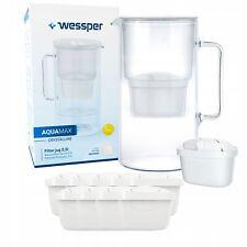 Wessper Glas Wasserfilter 2.5L Karaffe + 10 Kartuschen, Reduziert Kalk und Chlor