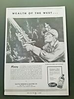 """1944 RAINIER BEER SEATTLE BREWING Ad Slick """"Wealth of the West"""" MINING #36B/W"""