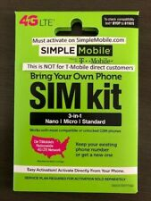 SIMPLE MOBILE SIM CARD, 3 IN 1 ALL SIZES, SIMPLE MOBILE OPERATES ON T-MOBILE NET
