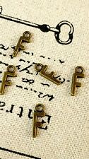 Alphabet letter F charm bronze vintage style jewellery supplies C32