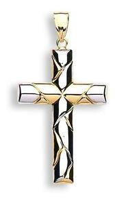 9ct Yellow & White Gold Holy Cross Shape Religious Christian 1.3g Pendant CX0196