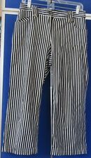 CHICO'S Cotton NYLON & Spandex CROPPED PANTS Sz 1 Black & White STRIPED 4 pocket