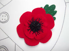 Red Poppy Flower Brooch with Leaf Handmade from Felt Embroidery Beads