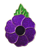 The Limited Classic Peace Remembrance Days Purple Poppy Enamel Pin Badge Brooch