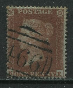 1854 1d lettered KE SG17 with Liverpool 466 numeral