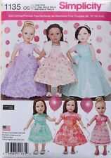 "18"" GIRL DOLL PARTY DRESSES Clothes Simplicity Sewing Pattern 1135 American Made"