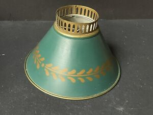 Vintage *TOLE GOLD Dark *GREEN Metal LAMPSHADE Clip On Shade Toleware