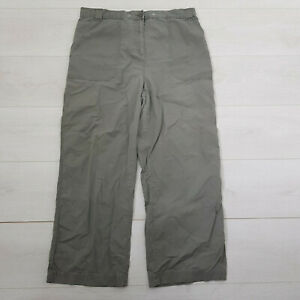 M&S Casual Trousers Size 16 W32 L26 Olive Green Pockets Elastic Waist Cotton