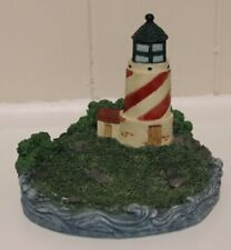 Red & White Light House Holder with Water & Trees