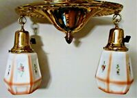 Antique Art Deco 2 Arm Light Chandelier Flush Ceiling Fixture Brass - Restored