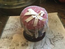 Antique Vintage Pin Cushion Red Bohemian Glass with Tambour Lace Top Silk Bow