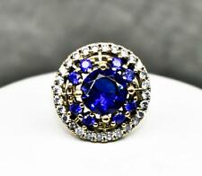 Deco 5.27ctw Blue & White Sapphire 14k Yellow Gold / Sterling Silver Ring Size 9