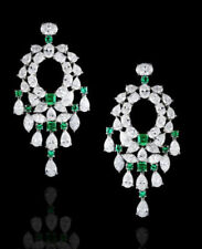 Solid 925 Sterling Silver Beautiful White Green Dangle Earring Women Gift Cz New